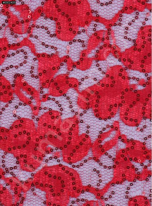 Çiçek Desenli Kırmızı Payetli Dantel Kumaş - K8824