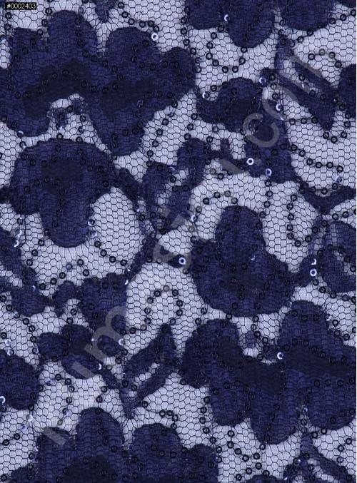 Çiçek Desenli Lacivert Payetli Dantel Kumaş - K8824