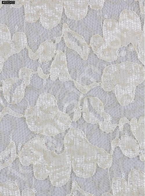 Çiçek Desenli Mat Kemik Payetli Dantel Kumaş - K8824
