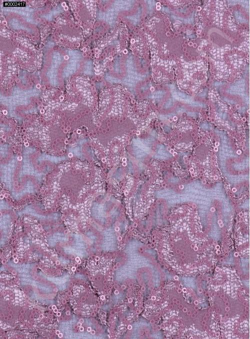 Çiçek Desenli Mat Pudra-1 Payetli Dantel Kumaş - K8824