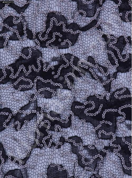Çiçek Desenli Mat Siyah Gümüş Payetli Dantel Kumaş - K8824