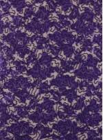 Çiçek Desenli Mor Payetli Dantel Kumaş - K8824