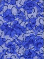 Çiçek Desenli Sax Payetli Dantel Kumaş - K8824