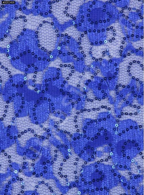 Çiçek Desenli Saks Payetli Dantel Kumaş - K8824