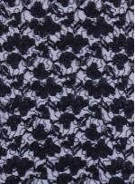 Çiçek Desenli Siyah Payetli Dantel Kumaş - K8824