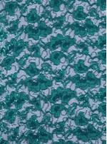 Çiçek Desenli Zümrüt Yeşil Payetli Dantel Kumaş - K8824