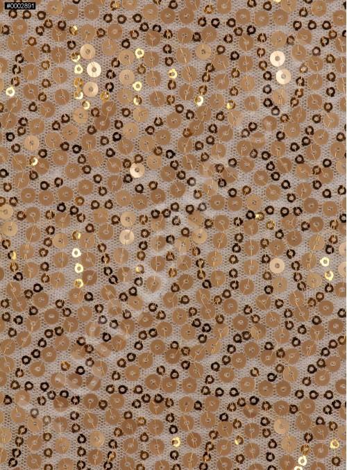 3 mm ve 5 mm Gold Payetli Kumaş - K88317