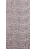 Tül Üzeri Çiçek Desenli Pamuklu c11 Pudra Kumaş - K8847