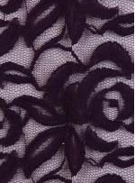 Tül Üzeri Çiçek Desenli Pamuklu c15 Mürdüm Kumaş - K8847
