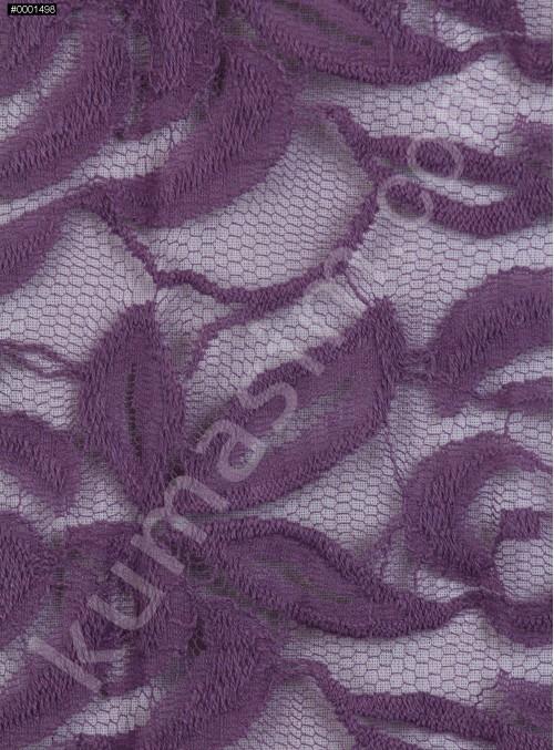 Tül Üzeri Çiçek Desenli Pamuklu c16 Lila Kumaş - K8847