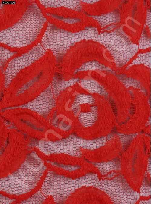 Tül Üzeri Çiçek Desenli Pamuklu c17 Kırmızı Kumaş - K8847