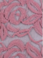 Tül Üzeri Çiçek Desenli Pamuklu c2 Pembe Kumaş - K8847