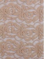Tül Üzeri Çiçek Desenli Pamuklu c24 Pudra Kumaş - K8847