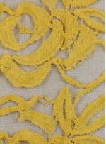 Tül Üzeri Çiçek Desenli Pamuklu c32 Sarı Kumaş - K8847