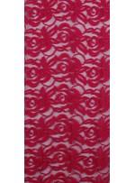 Tül Üzeri Çiçek Desenli Pamuklu c8 Fuşya Kumaş - K8847