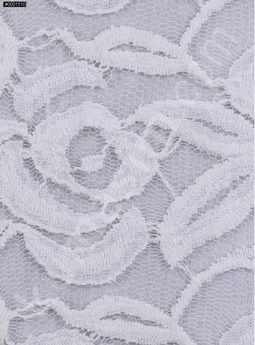 Tül Üzeri Çiçek Desenli Pamuklu Kemik Kumaş - K8847