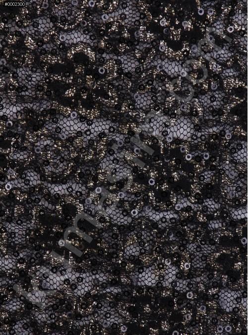 Çiçek Desenli Siyah Payetli Dantel Kumaş - K8871