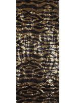 Zebra Desenli Payetli Kumaş - Siyah Gold  - K8874