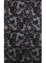 Çiçek Desenli Siyah Dantel Kumaş - K8876