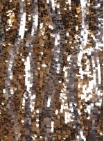 Dalga Desenli Gold ve Gümüş Payetli Kumaş - K8881