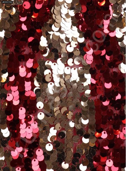 Dalga Desenli Kırmızı ve Gold Payetli Kumaş - K8881
