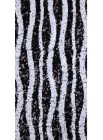 Dalga Desenli Siyah ve Beyaz Payetli Kumaş - K8881