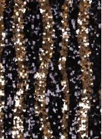 Dalga Desenli Siyah ve Gold Payetli Kumaş - K8881