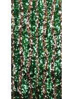 Dalga Desenli Yeşil ve Gold Payetli Kumaş - K8881