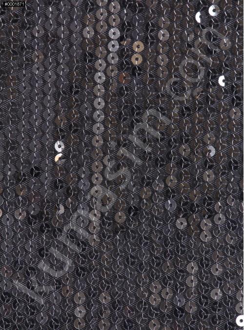 5 mm Sıvama Siyah Gümüş Payetli Kumaş - K8917