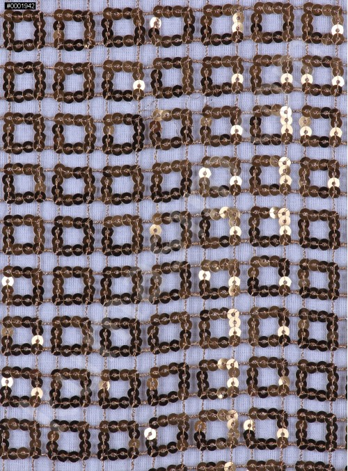 Kare Desenli Gold Payetli Kumaş - K8918
