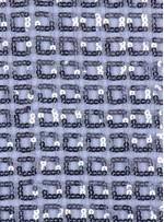Kare Desenli Gümüş Payetli Kumaş - K8918