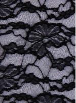 Çiçek Desenli Dantel Kumaş - Siyah - K8922