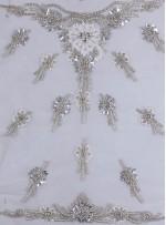 Çiçek Desenli - Swarovski Taşlı ve Boncuklu Beyaz Aplike - A8928