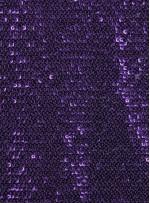 Ezik 3 mm Sıralı Payetli Mor Kumaş - K8937