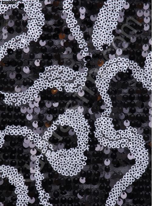 Karışık Desenli Siyah Beyaz Payetli Kumaş - K8948