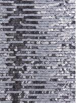 Çizgi Desenli Çift Renkli Gümüş Beyaz Payetli Kumaş - K8950