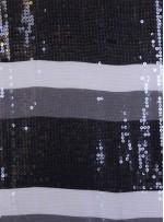 Şifon Üzeri Payetli Kumaş - Siyah - K8951