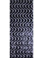 Dalga Desenli Siyah Gümüş Payetli Kumaş - K8955