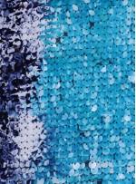 Çok Renkli Lacivert - Turkuaz - Mor Payetli Kumaş - K8962