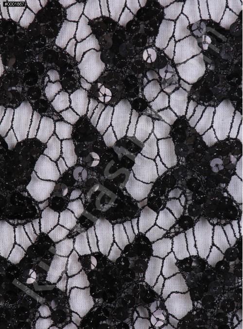 Kayan Yıldız Desenli Siyah Payetli Kumaş - K8976