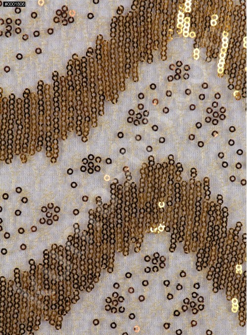 Dalga Desenli Çift Renkli Gold Payetli Kumaş - K8995