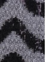 Dalga Desenli Çift Renkli Siyah Beyaz Payetli Kumaş - K8995