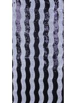 Dalga Desenli Payetli Kumaş - Siyah Beyaz - K8997