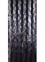 Dalga Desenli Payetli Kumaş - Siyah Gümüş - K8997
