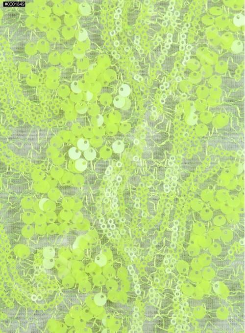Dalga Desenli 3 mm ve 5 mm Neon Açık Yeşil c28 Payetli Kumaş - K9008