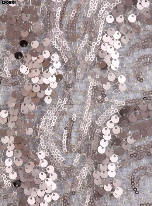 Dalga Desenli 3 mm ve 5 mm Mat Gold c18 Payetli Kumaş - K9008