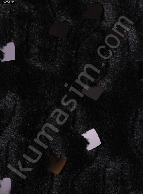Kare Payetli Siyah Kürk Kumaş - K9014
