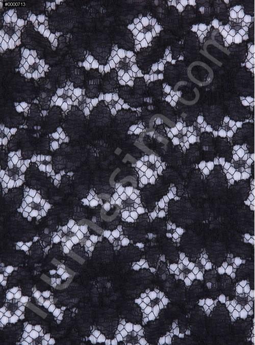 Çiçek Desenli Dantel Kumaş - Siyah - K9029