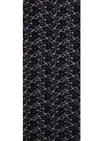 Çiçek Desenli Dantel Kumaş - Siyah - K9034