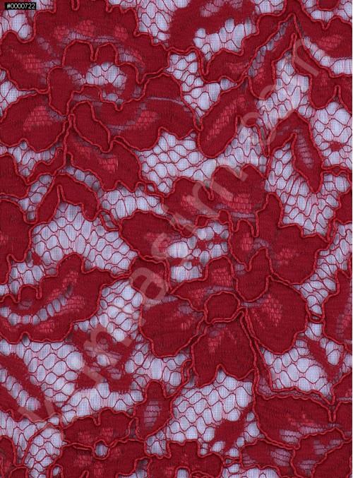 Çiçek Desenli Kordoneli Pamuk Dantel - Bordo - K9036
